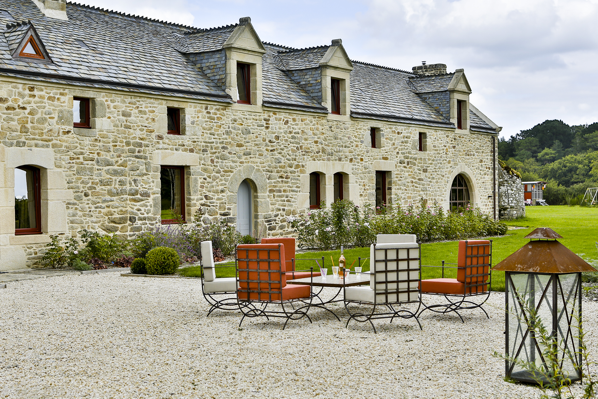 garden furniture in the gravelled courtyard